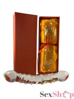 Consolador de Cristal con Relieve caja